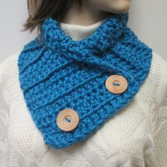 Blue Chunky Scarf, Winter Knit Scraves, Large Cowl, Fall Chunky Scarf, Fall Knit Scarf, Womans Crochet Scarf, Blue Neckwarmer, Fashion Scarf by CeciliaAnnDesigns on Etsy