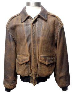 66b45c01cef3 AVIREX A-2 Vintage Brown Leather Bomber Jacket Size S Blouson En Cuir Marron ,