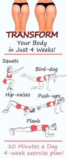 Transforma tu cuerpo en solo 4 semanas con esta rutina de ejercicio.