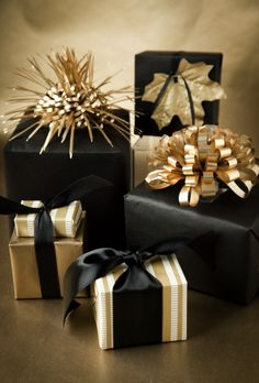 boxwood clippings_gold and black gift wrap