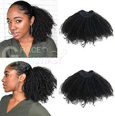 Afro Kinky Curly Ponytails Clip In Human Hair Extensions For African Amaricans Kinky curly Natural Virgin Clipin Ponytail HairPieces Curly Puff Ponytail Top Closure in stock at cheap price for women Curly Ponytail Weave, Natural Hair Ponytail, Puff Ponytail, Black Ponytail Hairstyles, Ponytail Styles, Sleek Ponytail, Curly Haircuts, Teen Hairstyles, Ponytail Ideas