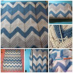 Blue Gray White Crochet Chevron Baby Blanket | Sakeenah.com