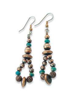 Navajo Copper Turquoise Women's Dangle Earrings Navajo