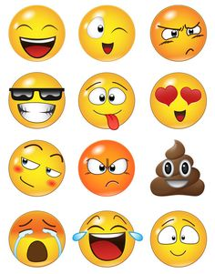 12 Large Emoji Faces Wall Graphic Decal Sticker by Stickerbrand