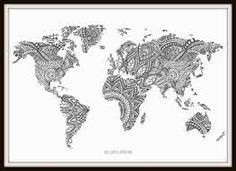 Items similar to Zentangle World Map Art Print on Etsy World Map Tattoos, 3d Optical Illusions, World Map Art, Mandala Art, Mandala Drawing, Lettering, Doodle Art, Graphic Art, Illustration Art