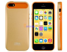 i-Glow 2-in-1 Silicone & Matte Metal Case for iPhone 5S/ 5 (Yellow)