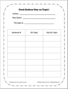 Staying on Topic Mini-Lesson | Interactive Anchor Chart | Graphic Organizer | Free from VariQuest & The Curriculum Corner