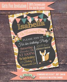 Girls Fox Party Invitation Girl Fox Shower by BloomberryDesigns