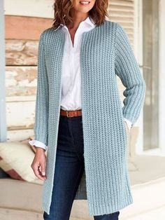 Mode Outfits, Fashion Outfits, Knit Vest Pattern, Casual Sweaters, Crochet Clothes, Long Sleeve Sweater, Sweater Cardigan, Sleeves, Winter Coats
