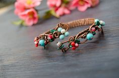 Floral turquoise coral Bracelet bangle with blue and by IrenAdler
