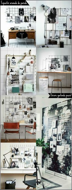 Tela Aramada: 29 inspirações para o seu mural de inspirações Wire grid wall | Mood board