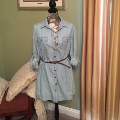Denim dress Trendy Denim dress with belt medium but fits more for small but could wear as a tunic with tights and boots Forever 21 Dresses Midi