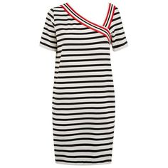 See by Chloé Asymmetric Breton Dress (16.385 RUB) ❤ liked on Polyvore featuring dresses, cotton dress, black and white stripe dress, asymmetrical dress, cotton summer dresses and black white striped dress