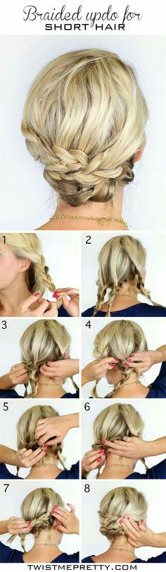 Braided updo for short hair, shorts hairstyle ideas, braid tutorial