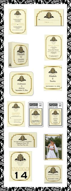 Modern #ArtDeco abstract #buildings #black, #gold in #vintage #GreatGatsby style #wedding #invitations and matching #stationery. #weddings, #invites, #beige, #ecru #Roaring20s, #border  See more designs http://www.zazzle.com/weddings_?rf=238228936251904937=zBookmarklet