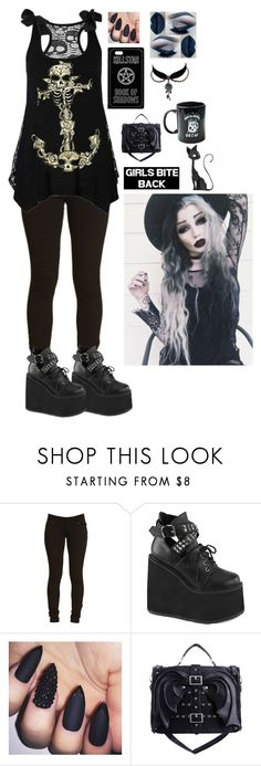"""Blood Stained Rituals - Blackmoon Spells"" by luna-karloff ❤ liked on Polyvore featuring Demonia, Charm & Chain, Pyknic and AQ/AQ"