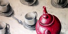 Red teapot, Emulsion on canvas.