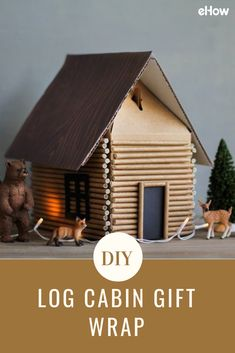 """Channel your inner lumberjack with a DIY gift box made to look like a charmingly rustic log cabin. Using paper straws as miniature """"logs,"""" this cozy little cabin looks surprisingly lifelike and gives off some serious cocoa-in-front-of-the-fire vibes."""