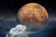A Mars close encounter with a comet late next year, as portrayed in this illustion. Credit: Courtesy of NASA