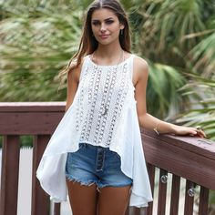 d3bc1b3563d7 Buy 2016 New Style Sexy White Sling Loose Lace Blouse at Wish - Shopping  Made Fun