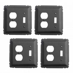 4 Switchplate Black Wrought Iron Toggle/Duplex