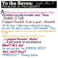 Instagram photo by @ask_the_7 (ask_the_7) | Statigram and what kind of question is that percabeth all the way