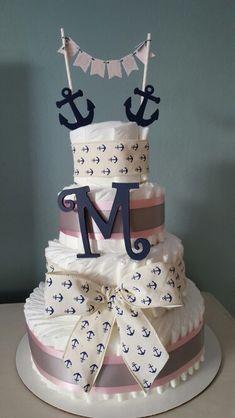 Nautical baby girl diaper cake