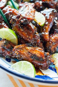 This recipe for chicken wings includes coconut aminos, honey, garlic, lime, rice vinegar, sesame and chili flakes for a spicy, tangy taste. {Paleo, Gluten Free, Clean Eating, Dairy Free}
