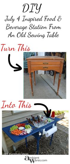 upcycled furniture DIY ~ Upcycled Repurposed Sewing Table To Drink Station ~ Ambient Wares Old Sewing Machine Table, Old Sewing Tables, Old Sewing Machines, Vintage Sewing Table, Diy Sewing Table, Furniture Projects, Furniture Makeover, Furniture Design, Modern Furniture