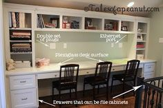 Compact Study Room Designs To Help Your Kids Study. Study Room For Teenager Kids Office, Study Office, Basement Office, Office Ideas, Office Decor, Family Office, Office Setup, Built In Desk, Built Ins