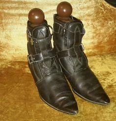 RARE Vintage 80's Fluevog black leather goth winklepicker buckle boots W 8 UK 6  #JohnFluevog #MidCalfBoots