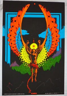 vintage psychedelic blacklight posters | Vintage 1973 Houston BlackLight Poster Co ICARUS Psychedelic Culture ...