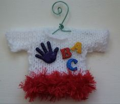 Teacher/Child Care Giver Themed  Mini Hand Knitted Sweater Christmas  Ornament