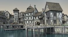 medieval port 3D Fantasy town Minecraft medieval Medieval