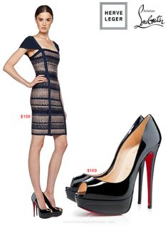 red bottom shoes collocation herve leger bandage dress on ...