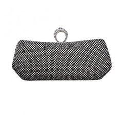 Women Glamour Rhinestone Ring Satin Clutch Evening Party Handbag Wallet  Purse Chain Bag Black 77ff9b6dac838