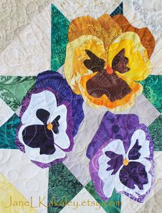 Quilt Pattern  PDF  Pansy Applique Art Quilt by JaneLKakaley, $10.00