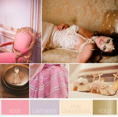 Color scheme...(replace rose with blush) Lavender, Pink Champagne and Gold