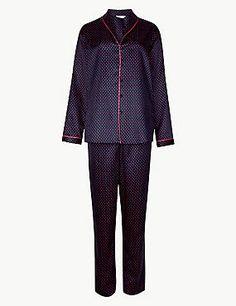 Satin Spotted Long Sleeve Pyjama Set
