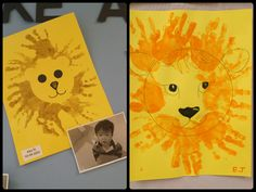 Lion week: Lion with Handprint Mane Resist art style. Children finger paint on top of lion head stencil, then remove. OR Children finger paint all over paper, then glue on a lion head once dry. Zoo Preschool, Preschool At Home, Preschool Crafts, Vbs Crafts, Pre K Activities, Craft Activities For Kids, Infant Activities, Safari Crafts, Circus Crafts