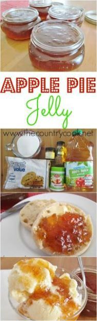 Apple Pie Jelly recipe from The Country Cook. One of my favorite jellies to make and to give as a gift. Everyone loves it. Good on biscuits, toast, even on ice cream. Everyone asks for it again year after year!