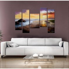 'Tranquil Beach' 5-piece Gallery-wrapped Hand Painted Canvas Art Set | Overstock™ Shopping - Top Rated Canvas