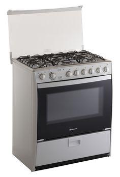 Sevilla Quarzo de Indurama * 6 quemadores * 32 pulgadas * Blanco / Alto: 94 cm / Ancho: 80 cm / Prof: 58 cm.  Parrilla autodeslizable en el horno. Plancha asadora. Grill