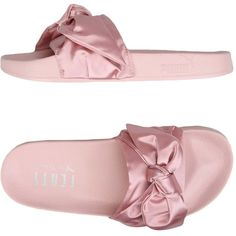 Fenty Puma By Rihanna Sandals (€44) ❤ liked on Polyvore featuring shoes, sandals, pink, puma sandals, flat shoes, round toe shoes, round cap and pink shoes