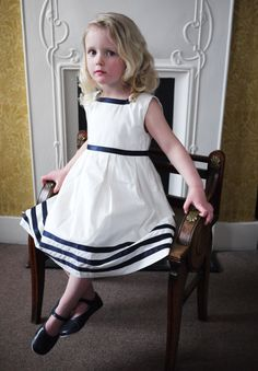Rachel Riley Classic Ribbon Dress in Navy