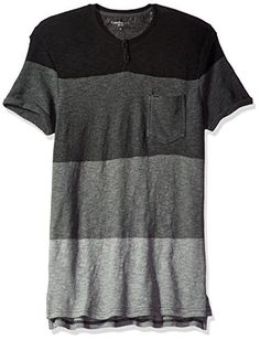 Calvin Klein Jeans Men s Short Sleeve Stripe Slit Neck T-Shirt 5defff80dc8
