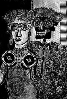 'Ramona en España' (1968) by Argentinian artist Antonio Berni (1905-1981). Woodcut, 83 x 58 cm. ty, Leisa Shannon Corbett. via CVAA