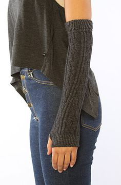 The Kelly Fingerless Cable Knit Glove in Charcoal by Leggsington