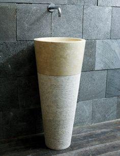 Ideen für ausgefallene Waschbecken * Waschsäule beige * Antik * Stein * SpaAmbiente