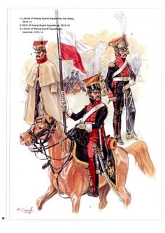 Polish Lancers in full dress. Note the opened lapels, uncovered czpakas, and crimson trousers.
